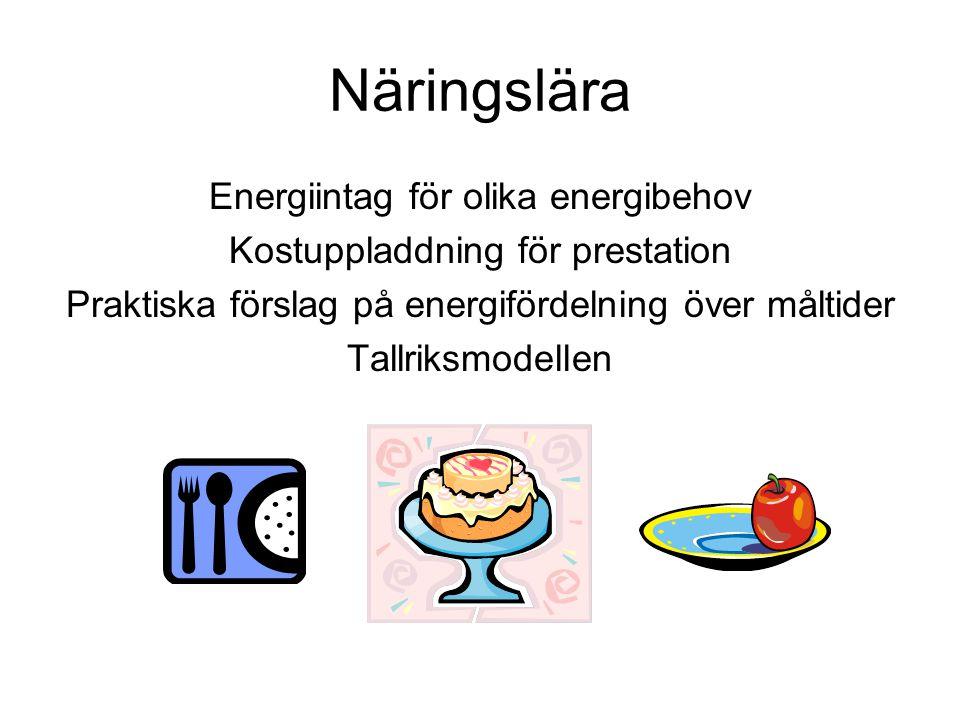 Näringslära Energiintag för olika energibehov