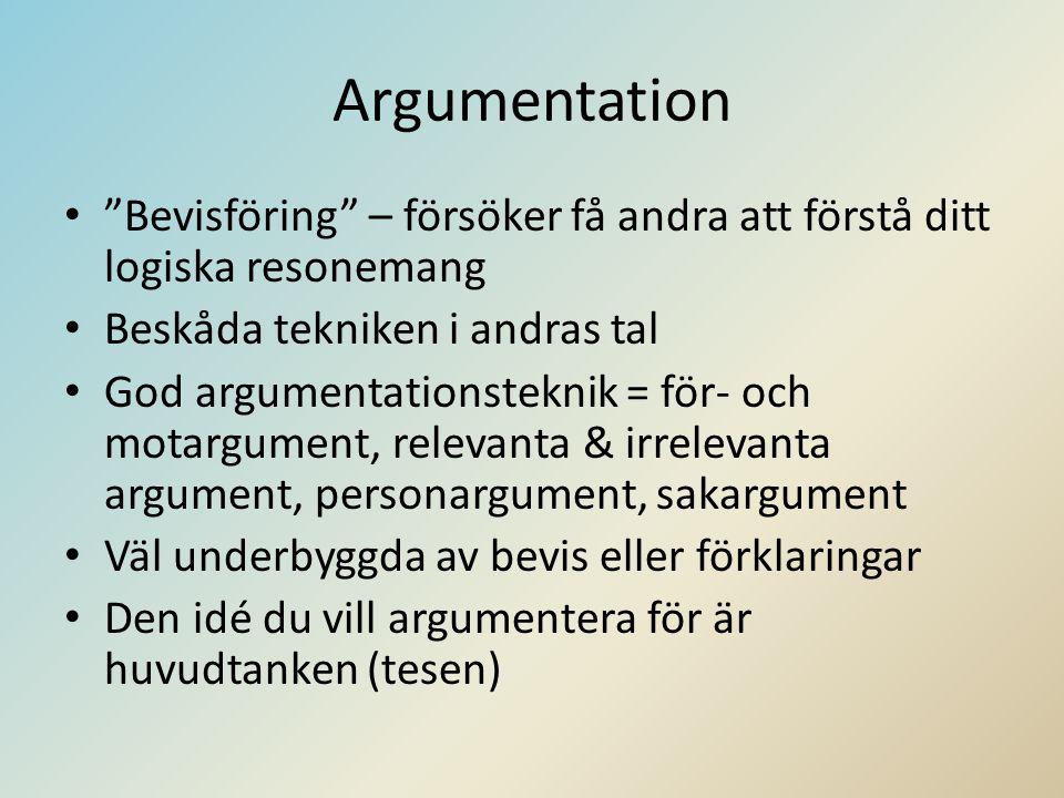 Argumentation Bevisföring – försöker få andra att förstå ditt logiska resonemang. Beskåda tekniken i andras tal.