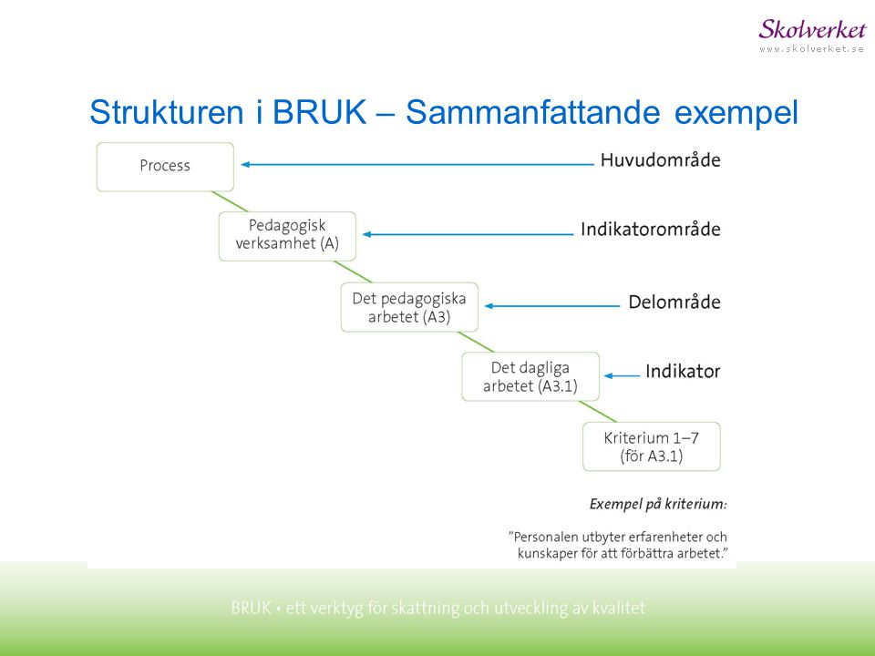 Strukturen i BRUK – Sammanfattande exempel