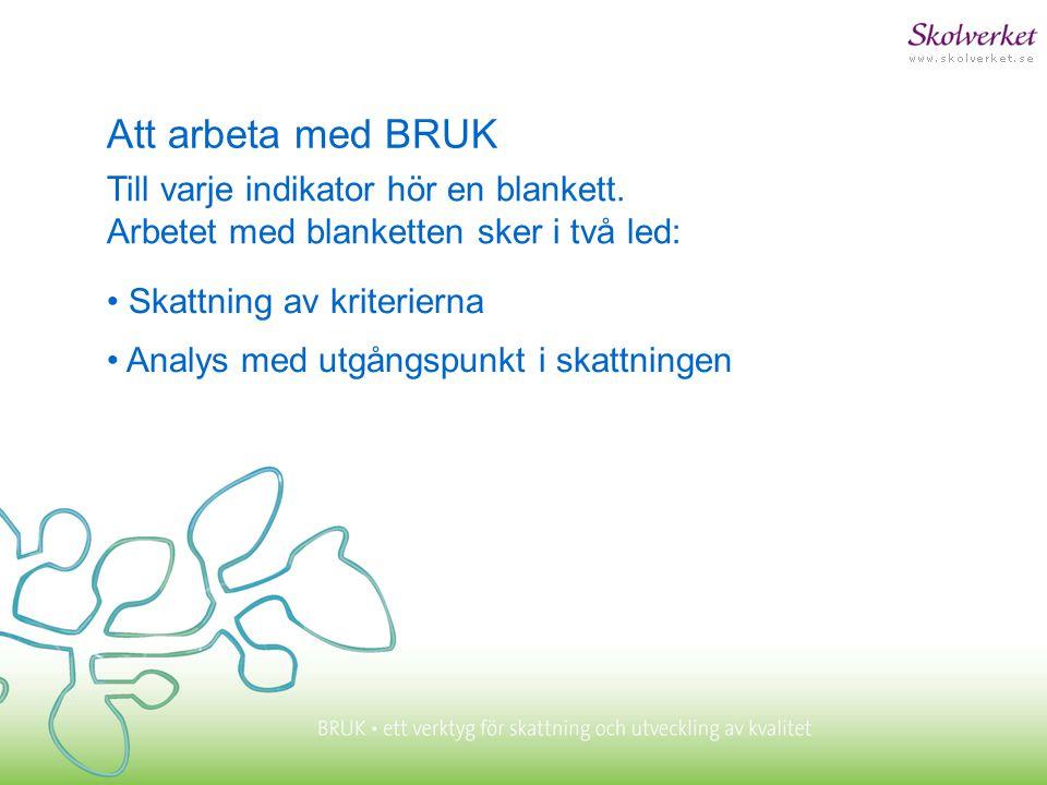 Att arbeta med BRUK Till varje indikator hör en blankett. Arbetet med blanketten sker i två led: • Skattning av kriterierna.