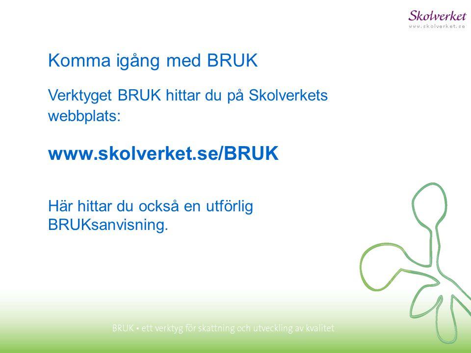 www.skolverket.se/BRUK Komma igång med BRUK