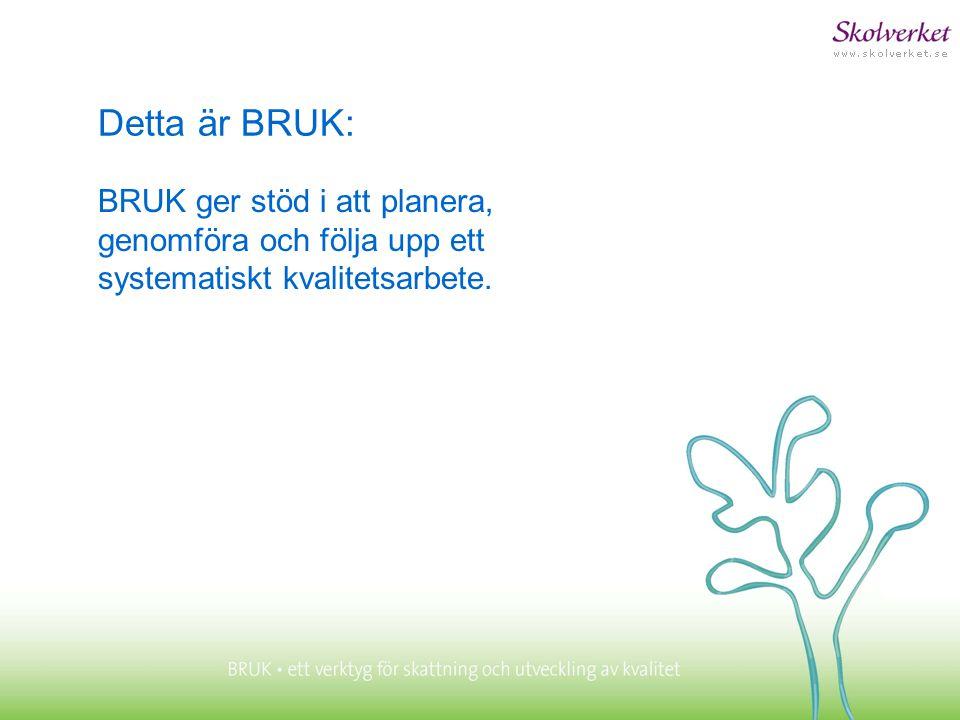 Detta är BRUK: BRUK ger stöd i att planera, genomföra och följa upp ett systematiskt kvalitetsarbete.