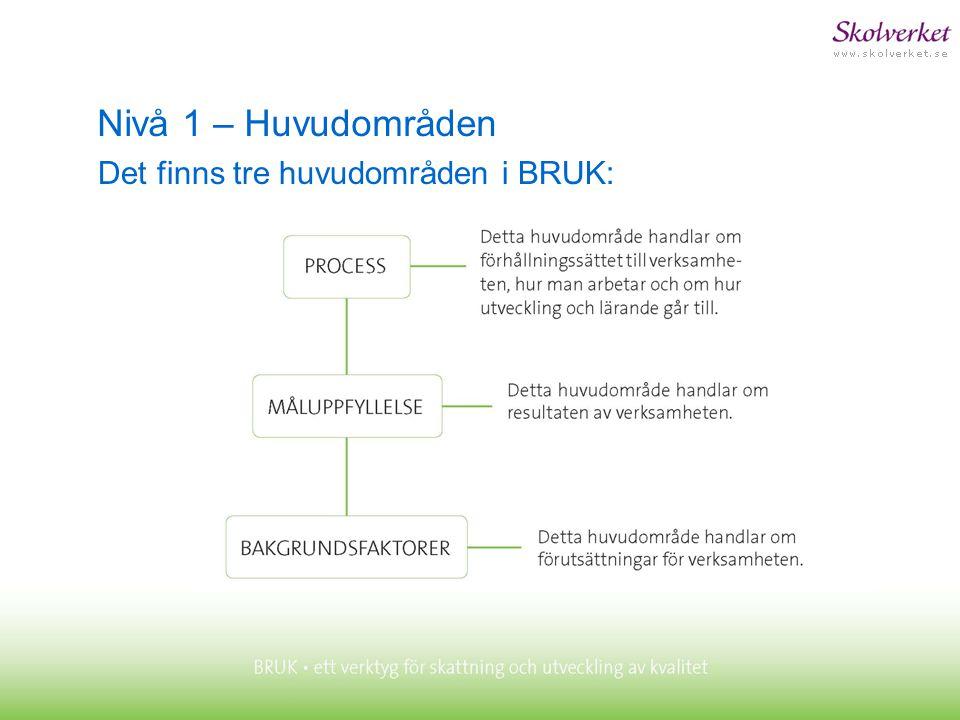 Nivå 1 – Huvudområden Det finns tre huvudområden i BRUK: