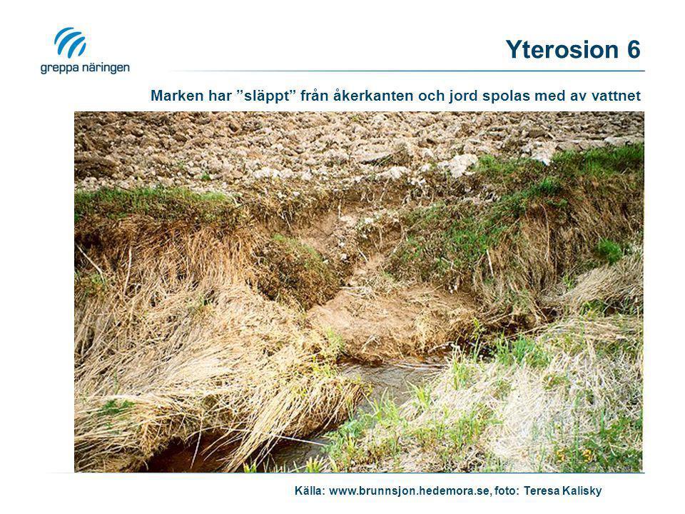 Marken har släppt från åkerkanten och jord spolas med av vattnet