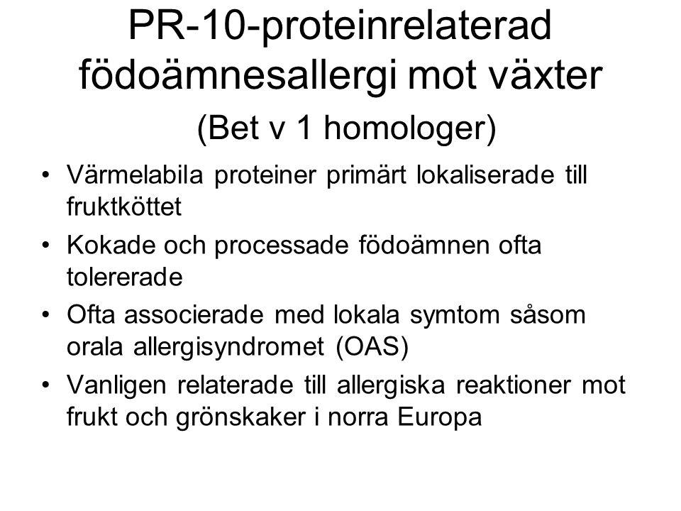 PR-10-proteinrelaterad födoämnesallergi mot växter (Bet v 1 homologer)