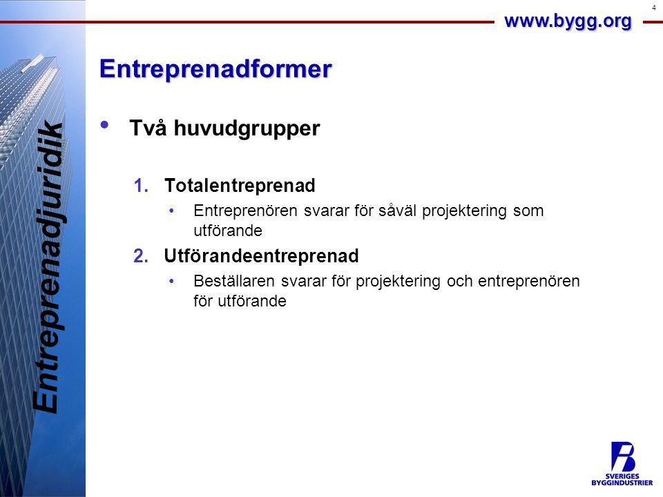 Entreprenadjuridik Entreprenadformer Två huvudgrupper Totalentreprenad