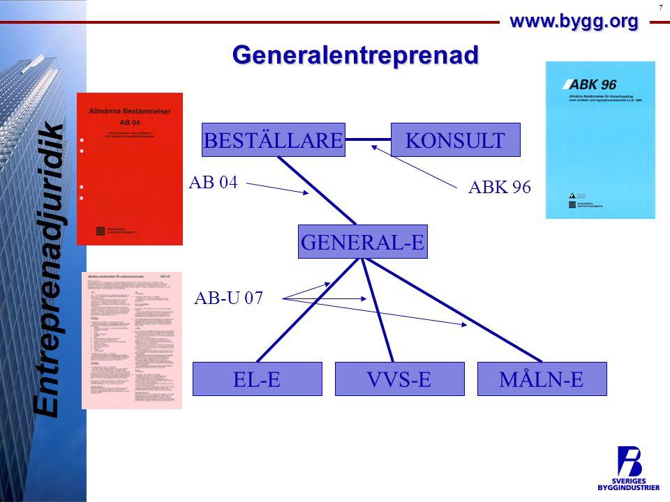 Entreprenadjuridik Generalentreprenad BESTÄLLARE KONSULT GENERAL-E