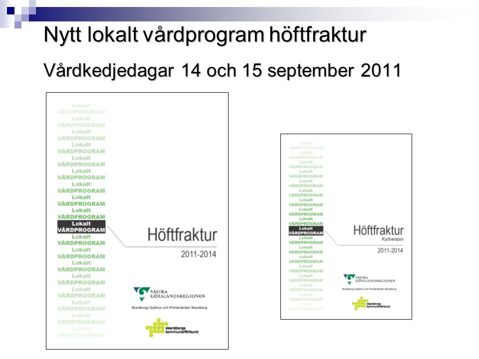 Nytt lokalt vårdprogram höftfraktur Vårdkedjedagar 14 och 15 september 2011