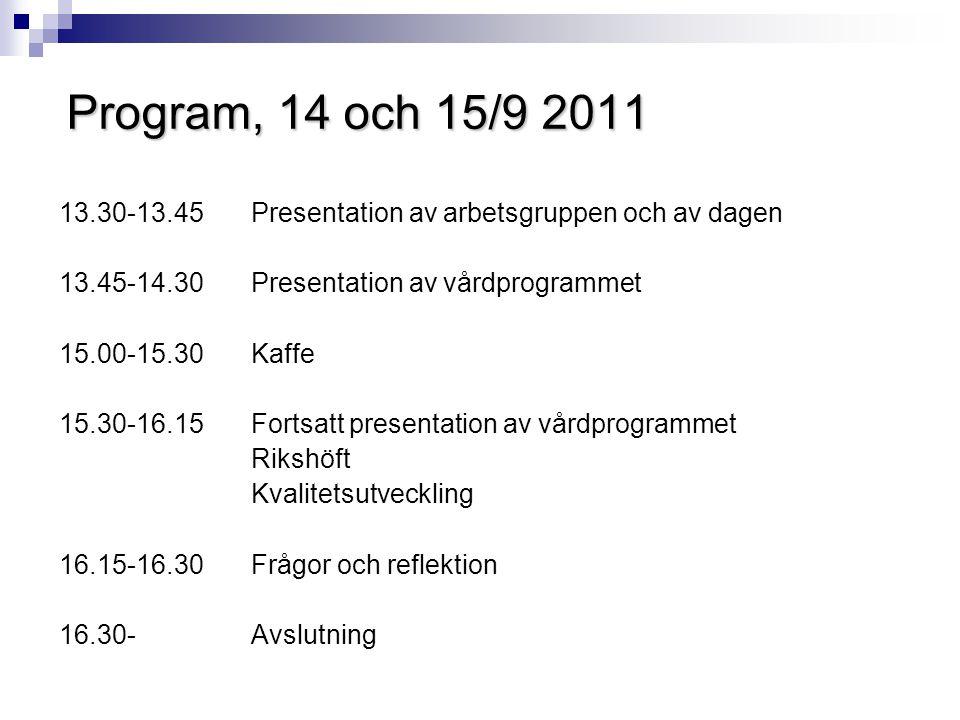 Program, 14 och 15/9 2011 13.30-13.45 Presentation av arbetsgruppen och av dagen. 13.45-14.30 Presentation av vårdprogrammet.