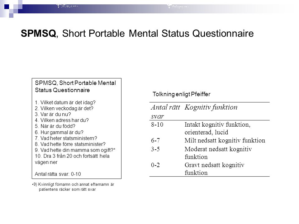 SPMSQ, Short Portable Mental Status Questionnaire
