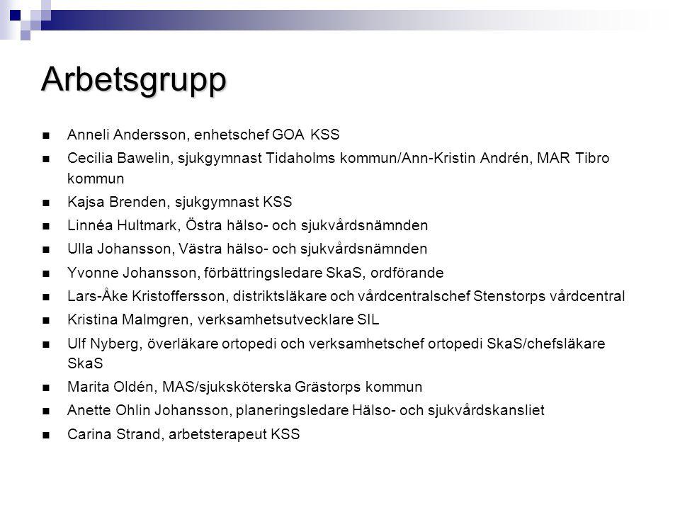 Arbetsgrupp Anneli Andersson, enhetschef GOA KSS
