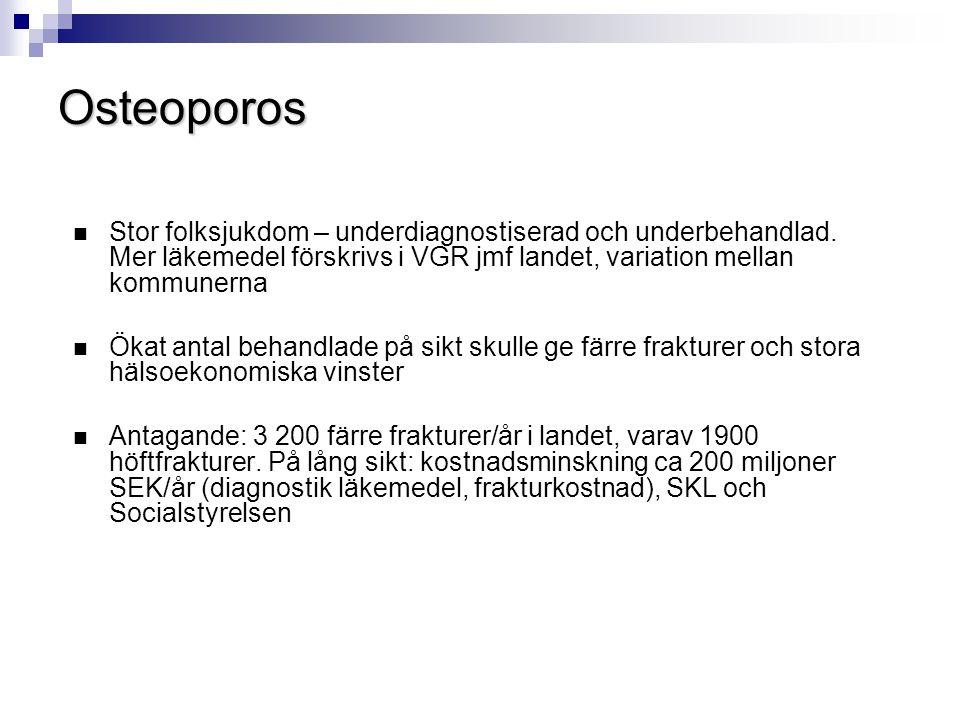 Osteoporos Stor folksjukdom – underdiagnostiserad och underbehandlad. Mer läkemedel förskrivs i VGR jmf landet, variation mellan kommunerna.