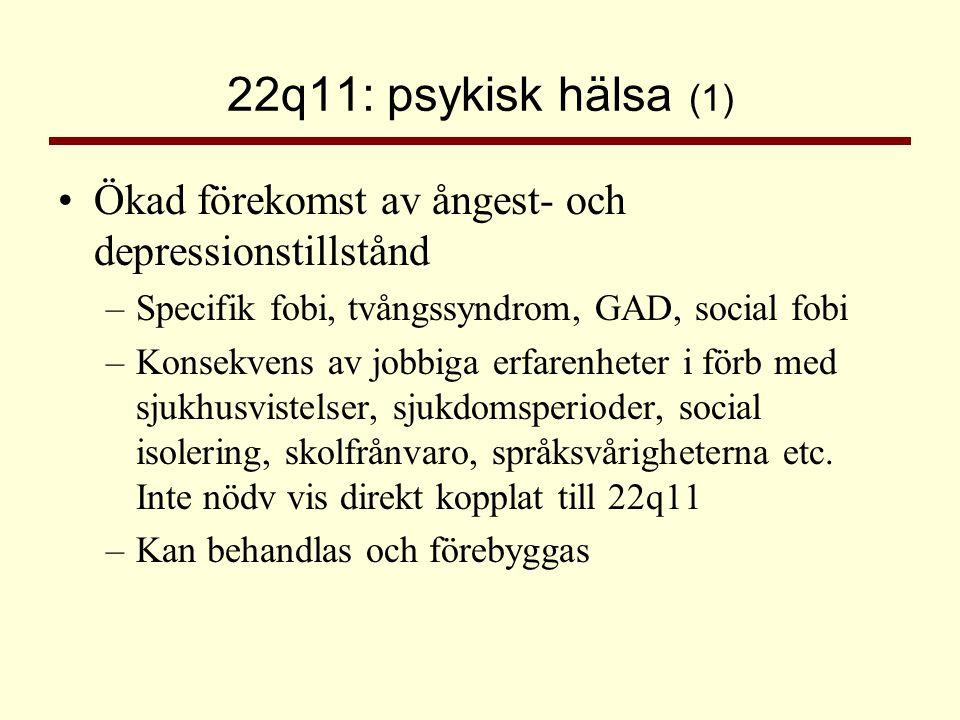 22q11: psykisk hälsa (1) Ökad förekomst av ångest- och depressionstillstånd. Specifik fobi, tvångssyndrom, GAD, social fobi.