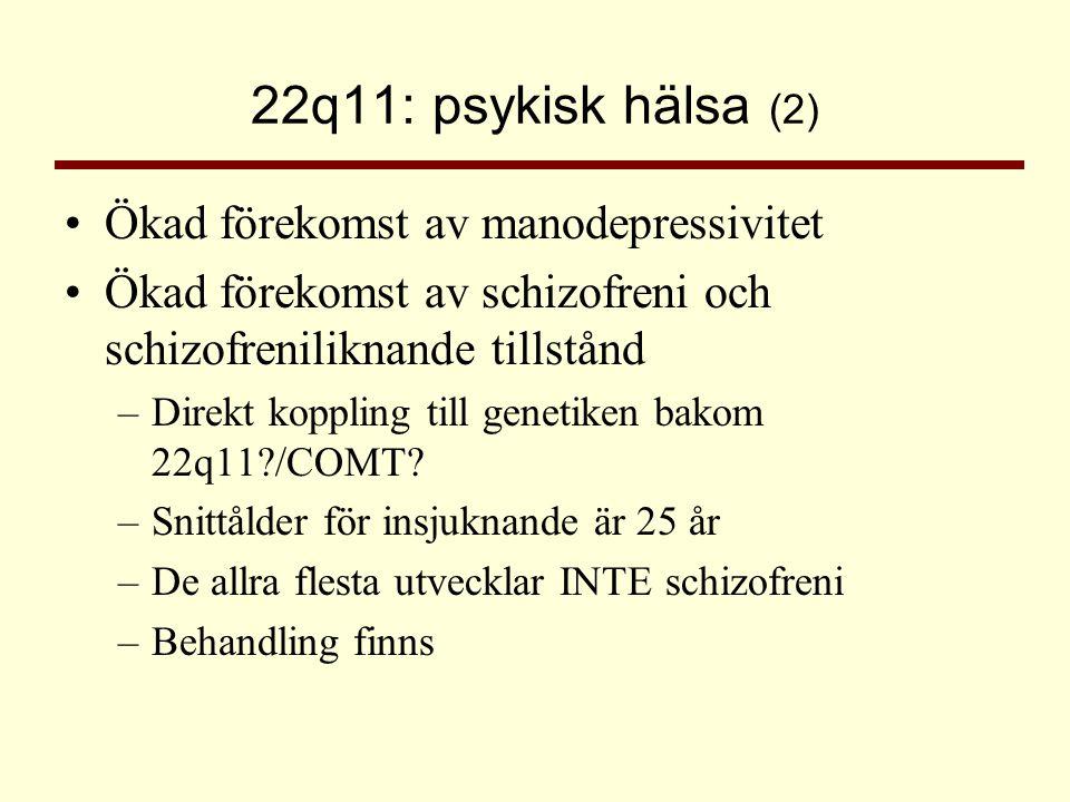 22q11: psykisk hälsa (2) Ökad förekomst av manodepressivitet