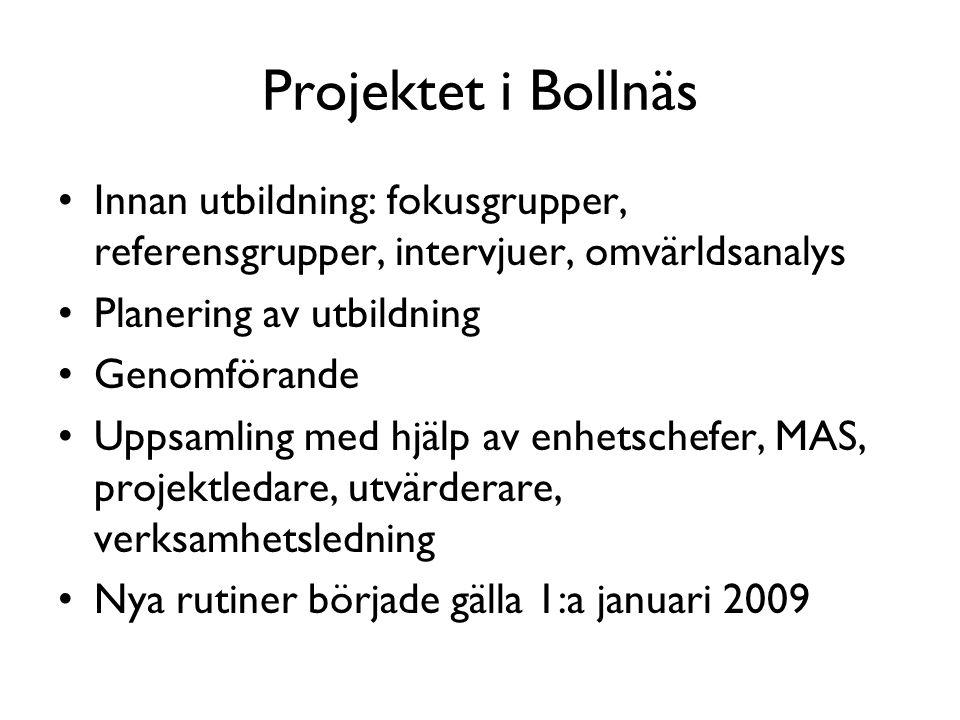 Projektet i Bollnäs Innan utbildning: fokusgrupper, referensgrupper, intervjuer, omvärldsanalys. Planering av utbildning.