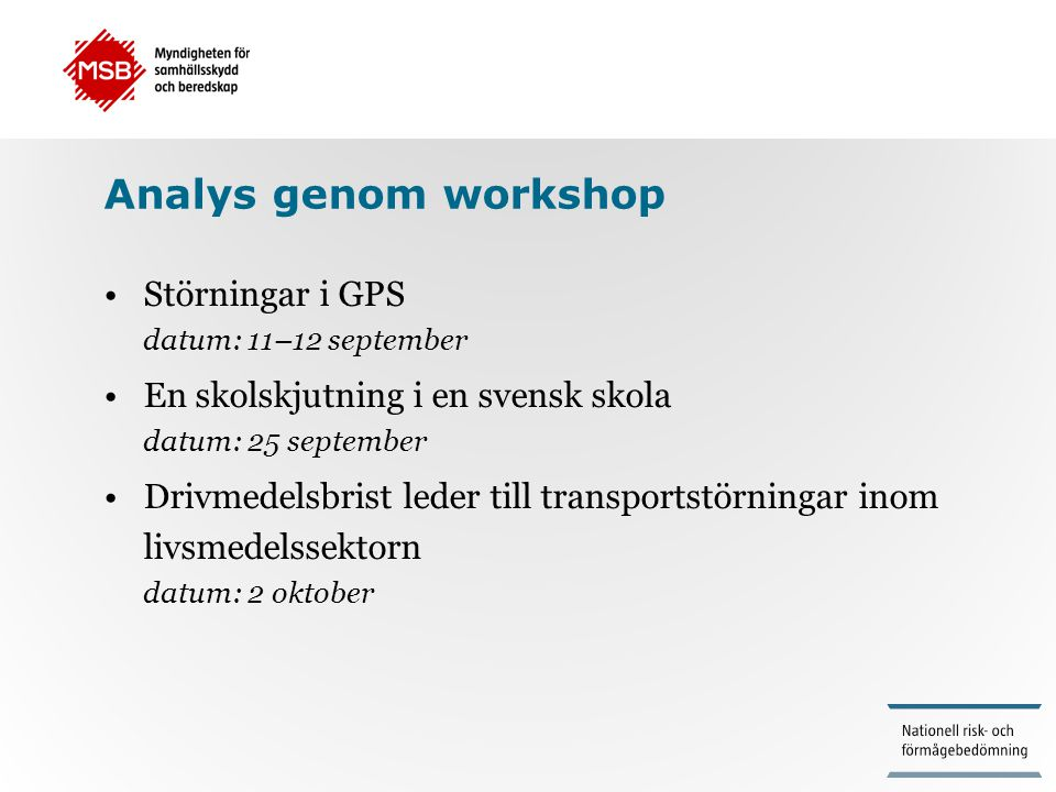 Analys genom workshop Störningar i GPS datum: 11–12 september