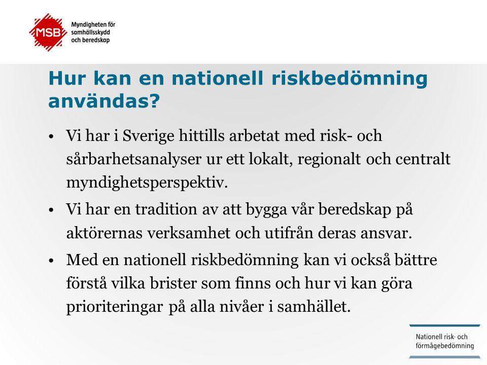 Hur kan en nationell riskbedömning användas