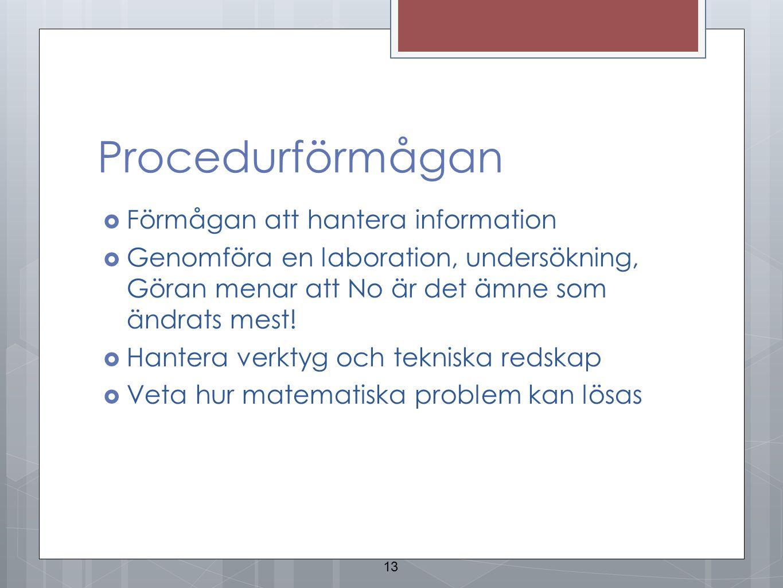 Procedurförmågan Förmågan att hantera information