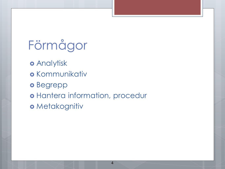 Förmågor Analytisk Kommunikativ Begrepp Hantera information, procedur