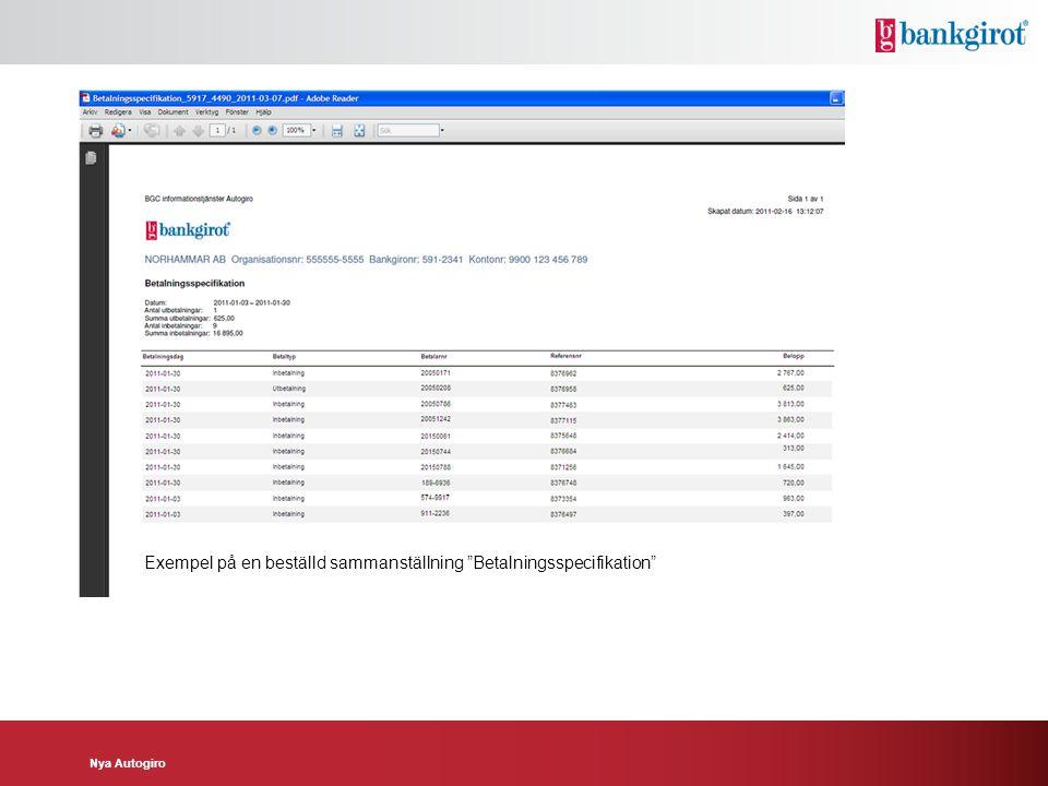 Exempel på en beställd sammanställning Betalningsspecifikation