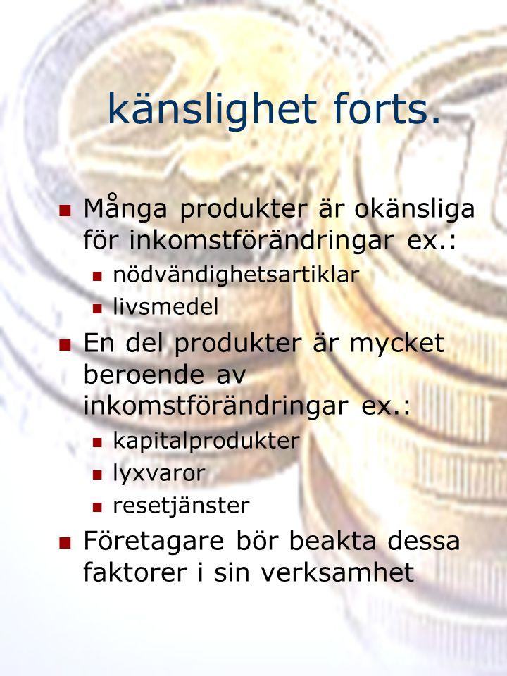 känslighet forts. Många produkter är okänsliga för inkomstförändringar ex.: nödvändighetsartiklar.