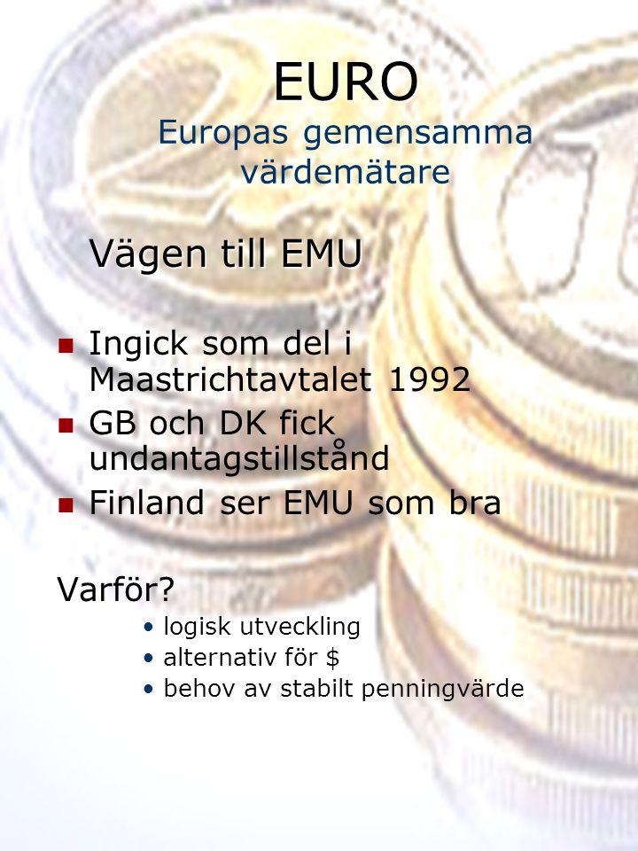 EURO Europas gemensamma värdemätare