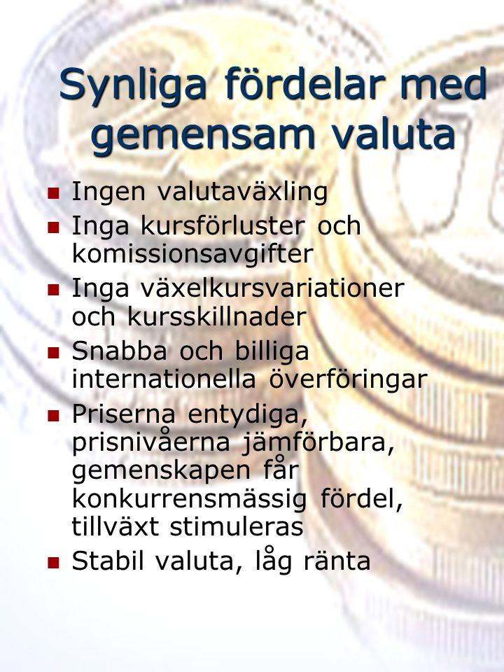 Synliga fördelar med gemensam valuta