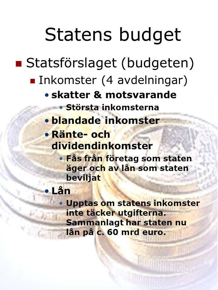 Statens budget Statsförslaget (budgeten) Inkomster (4 avdelningar)