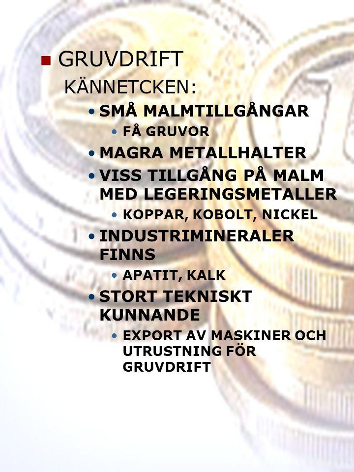 GRUVDRIFT KÄNNETCKEN: SMÅ MALMTILLGÅNGAR MAGRA METALLHALTER