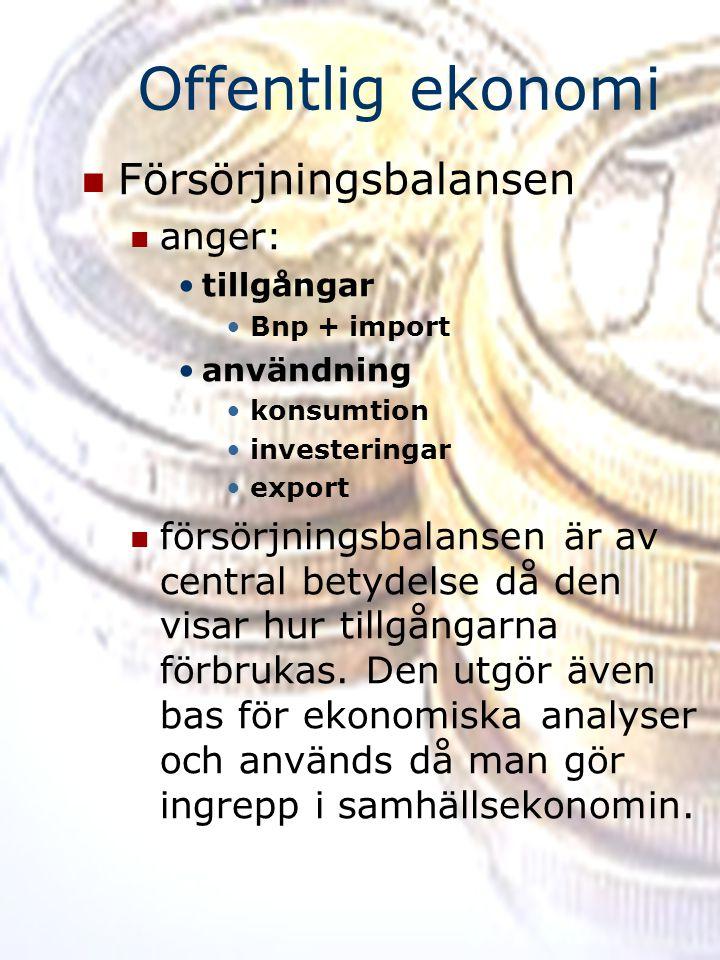 Offentlig ekonomi Försörjningsbalansen anger: