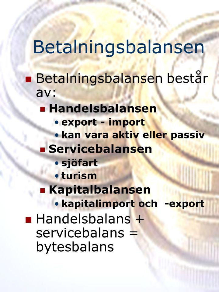 Betalningsbalansen Betalningsbalansen består av: