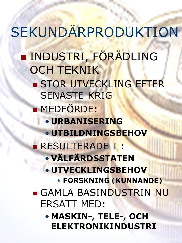 SEKUNDÄRPRODUKTION INDUSTRI, FÖRÄDLING OCH TEKNIK