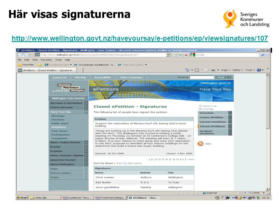 Här visas signaturerna