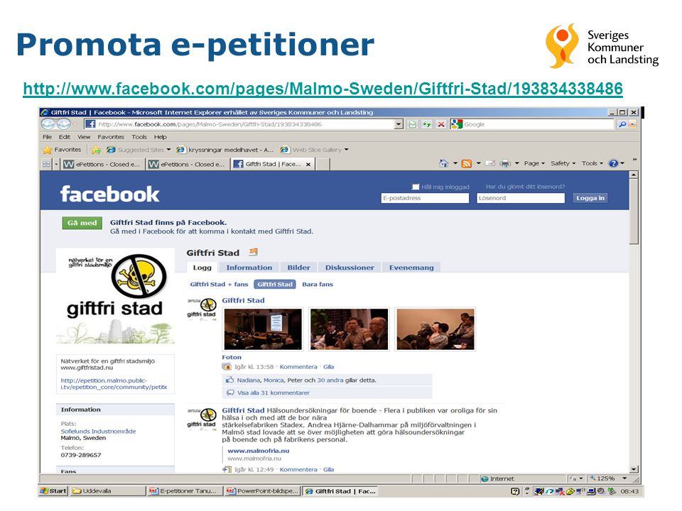 Promota e-petitioner http://www.facebook.com/pages/Malmo-Sweden/Giftfri-Stad/193834338486