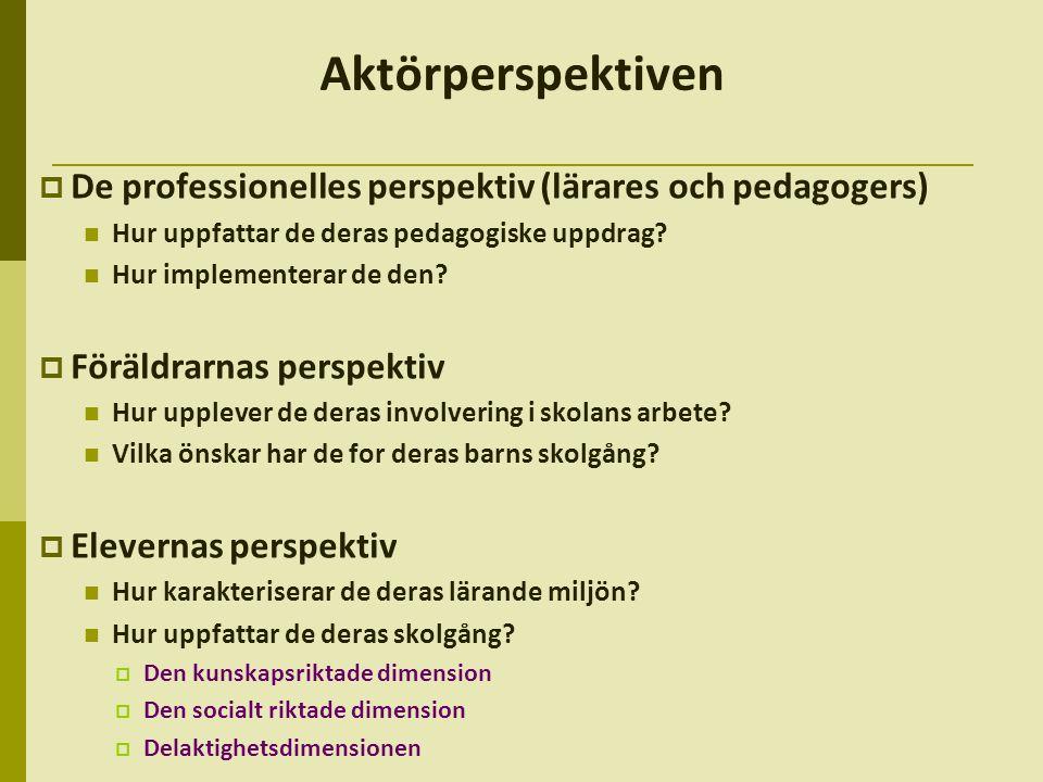 Aktörperspektiven De professionelles perspektiv (lärares och pedagogers) Hur uppfattar de deras pedagogiske uppdrag