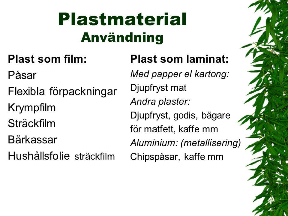 Plastmaterial Användning
