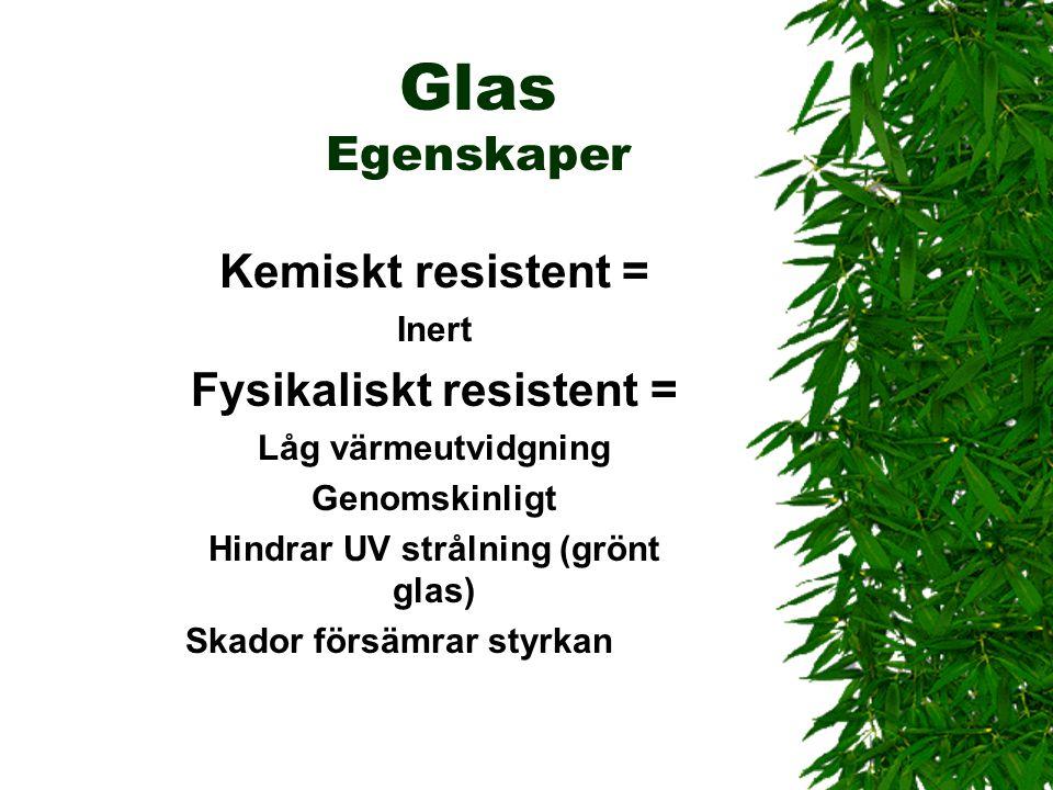 Glas Egenskaper Kemiskt resistent = Fysikaliskt resistent = Inert