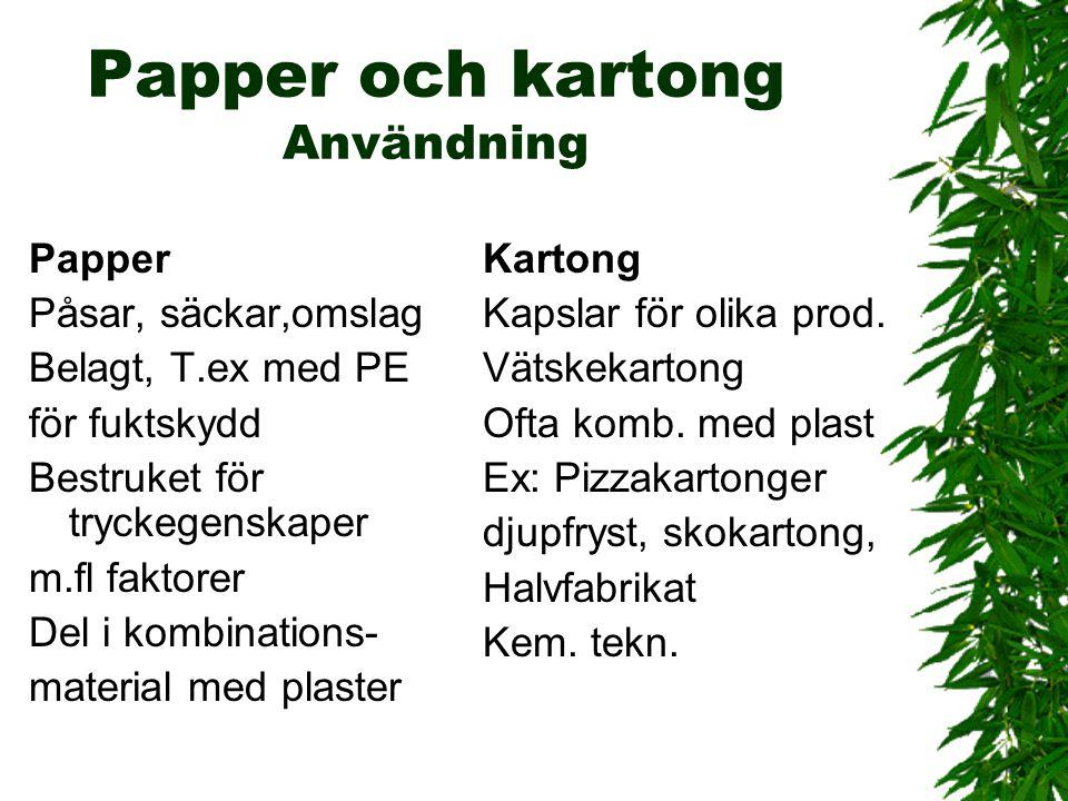 Papper och kartong Användning