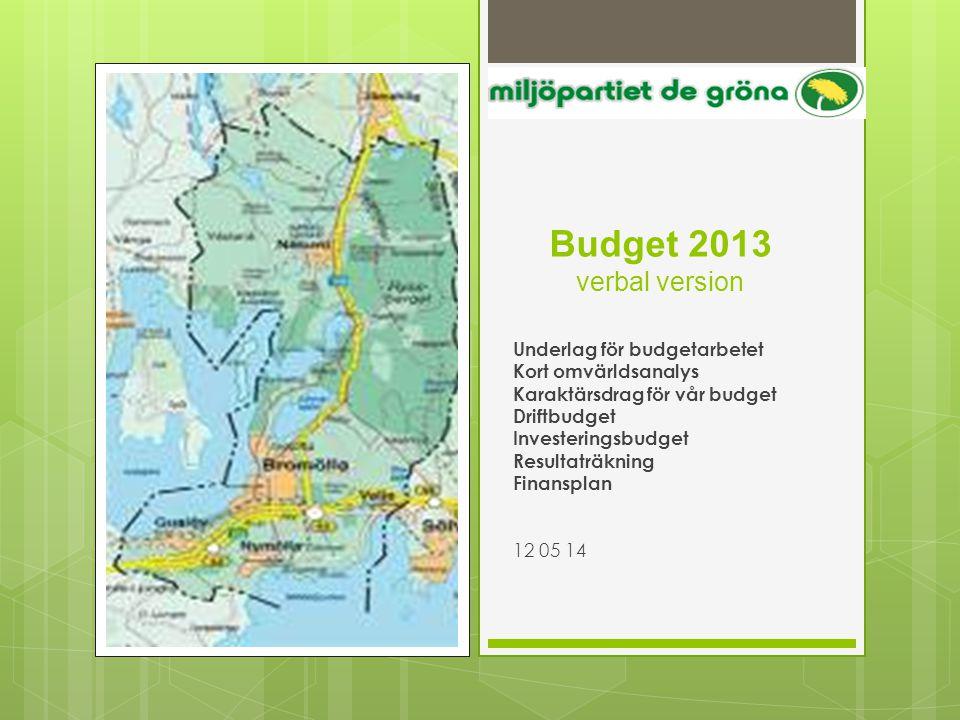 Budget 2013 verbal version Underlag för budgetarbetet