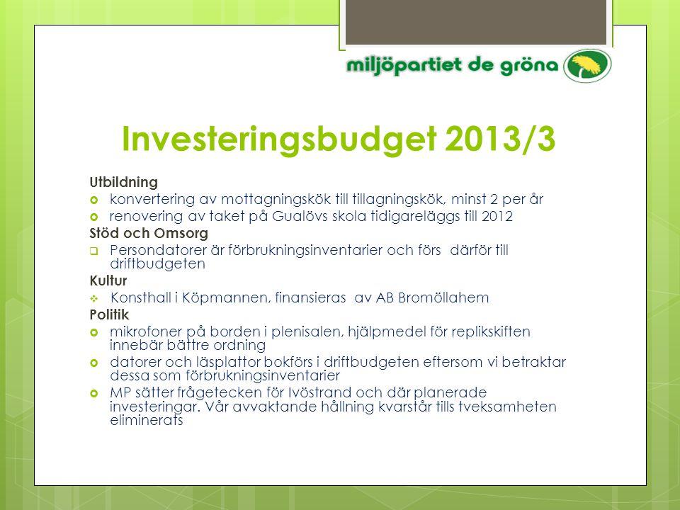 Investeringsbudget 2013/3 Utbildning