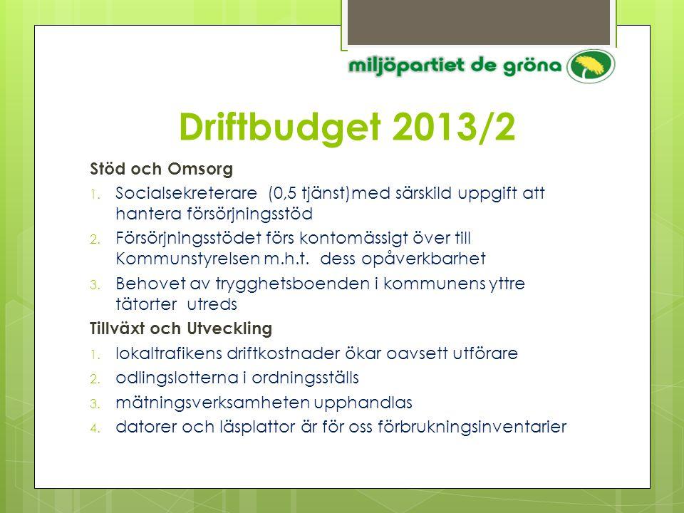 Driftbudget 2013/2 Stöd och Omsorg