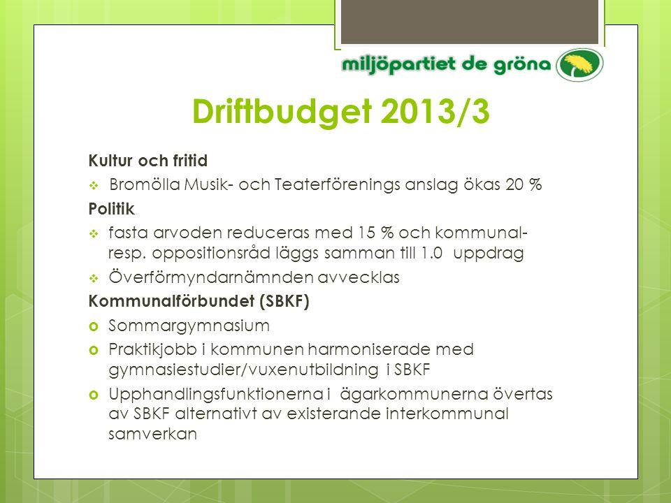 Driftbudget 2013/3 Kultur och fritid