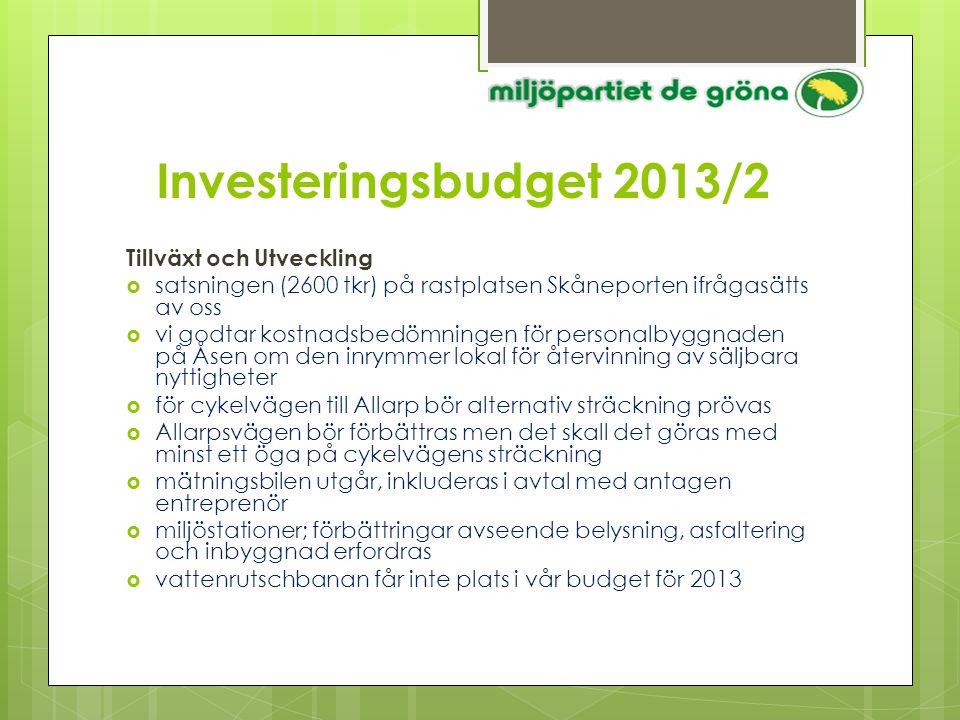 Investeringsbudget 2013/2 Tillväxt och Utveckling