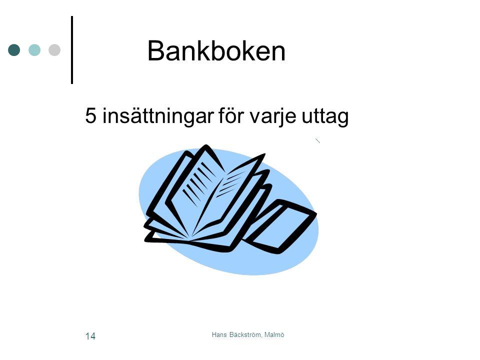 Bankboken 5 insättningar för varje uttag Hans Bäckström, Malmö