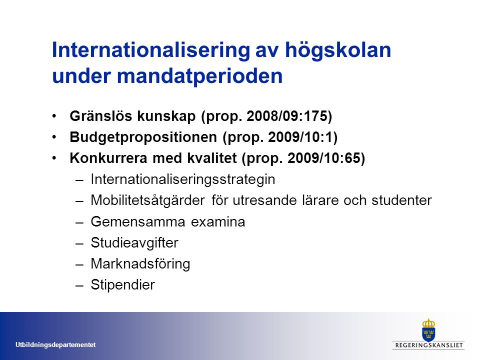 Internationalisering av högskolan under mandatperioden