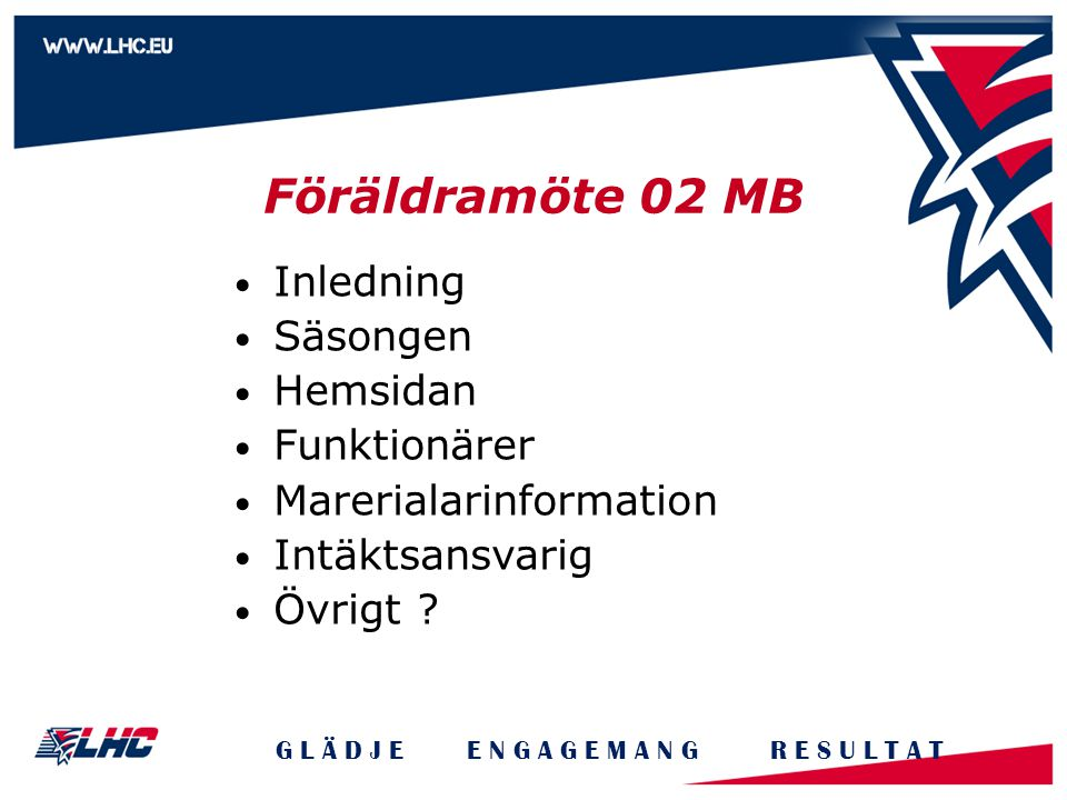 Föräldramöte 02 MB Inledning Säsongen Hemsidan Funktionärer