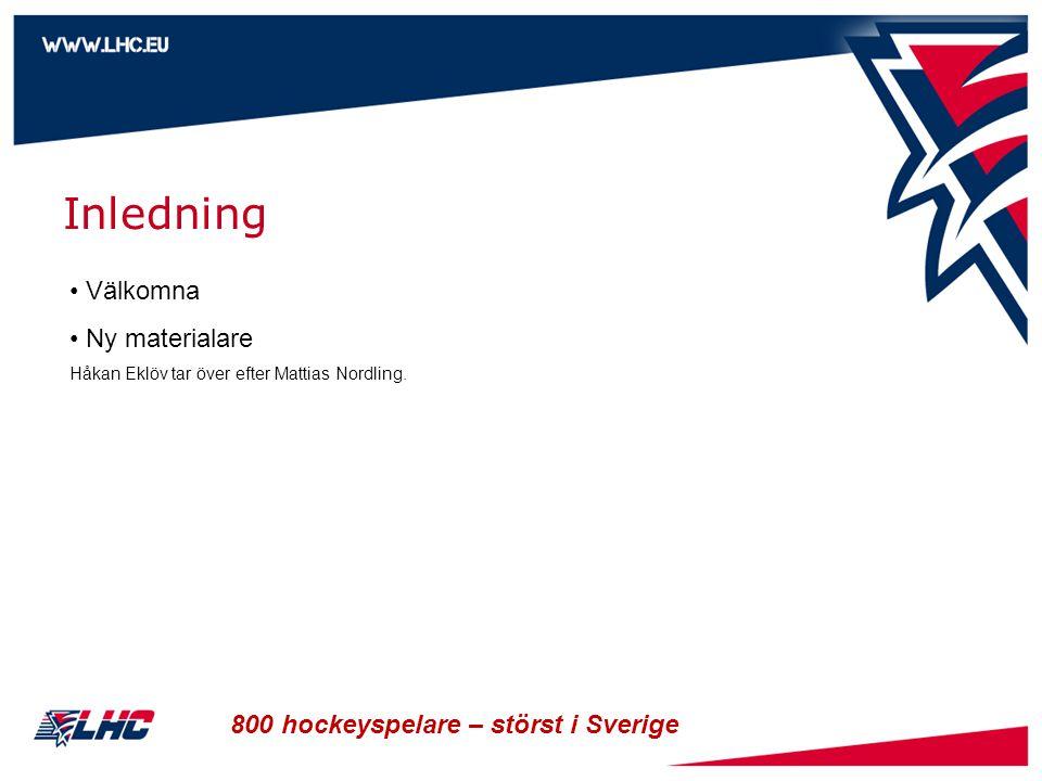 Inledning Välkomna Ny materialare 800 hockeyspelare – störst i Sverige