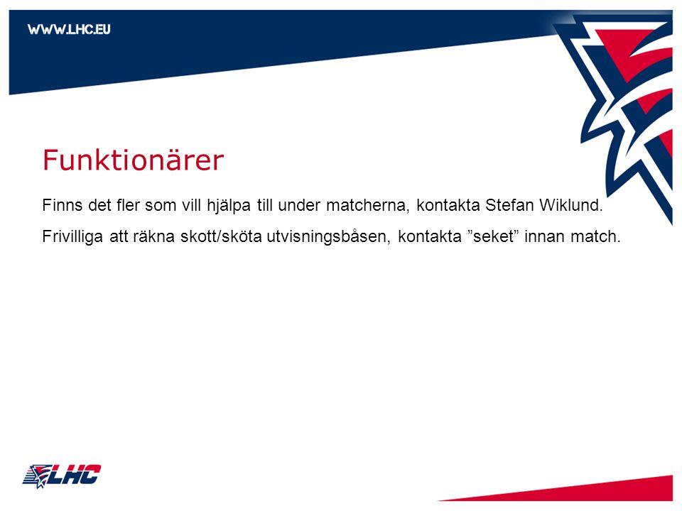 Funktionärer Finns det fler som vill hjälpa till under matcherna, kontakta Stefan Wiklund.