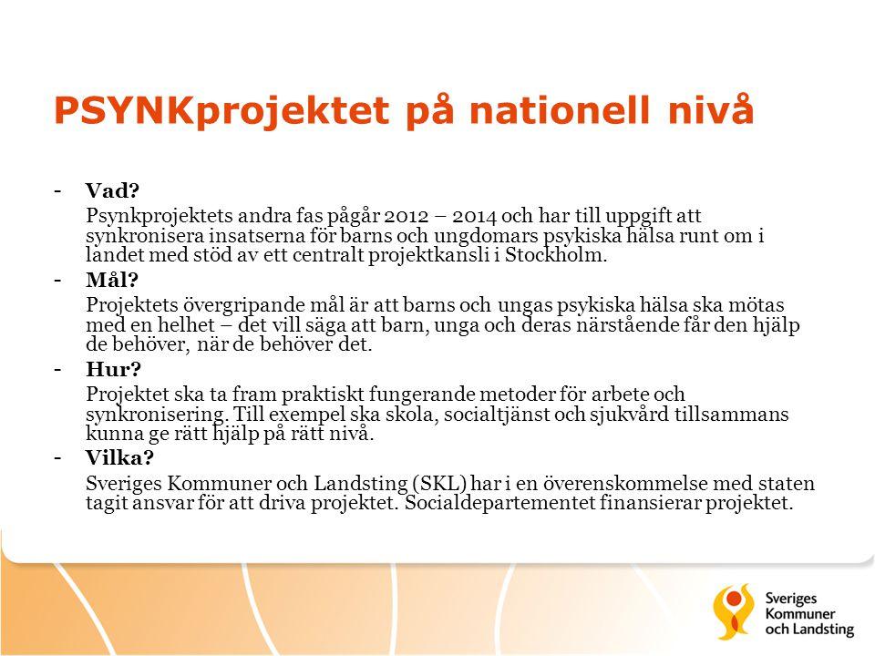PSYNKprojektet på nationell nivå