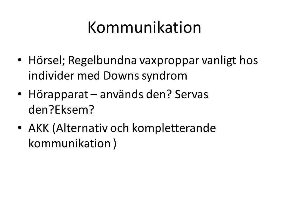 Kommunikation Hörsel; Regelbundna vaxproppar vanligt hos individer med Downs syndrom. Hörapparat – används den Servas den Eksem